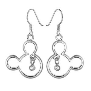 Mickey Mouse Silver CZ Earrings